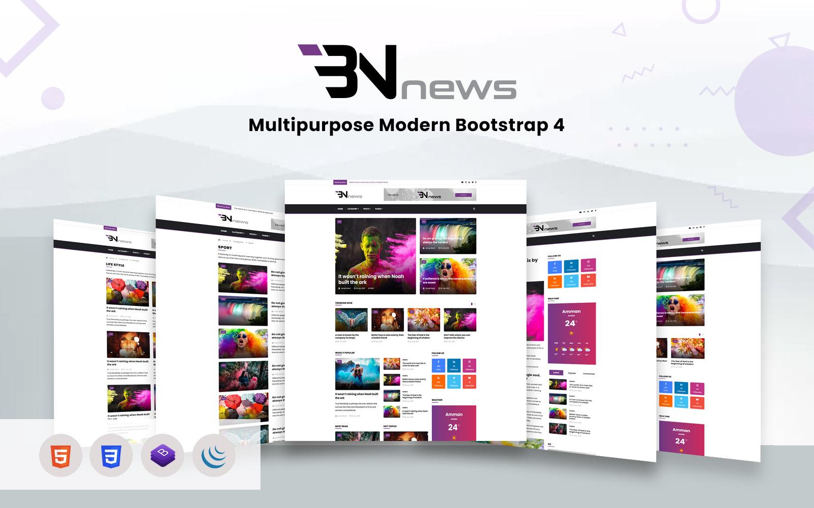Bn News - Magazine & Blog Bootstrap Website template