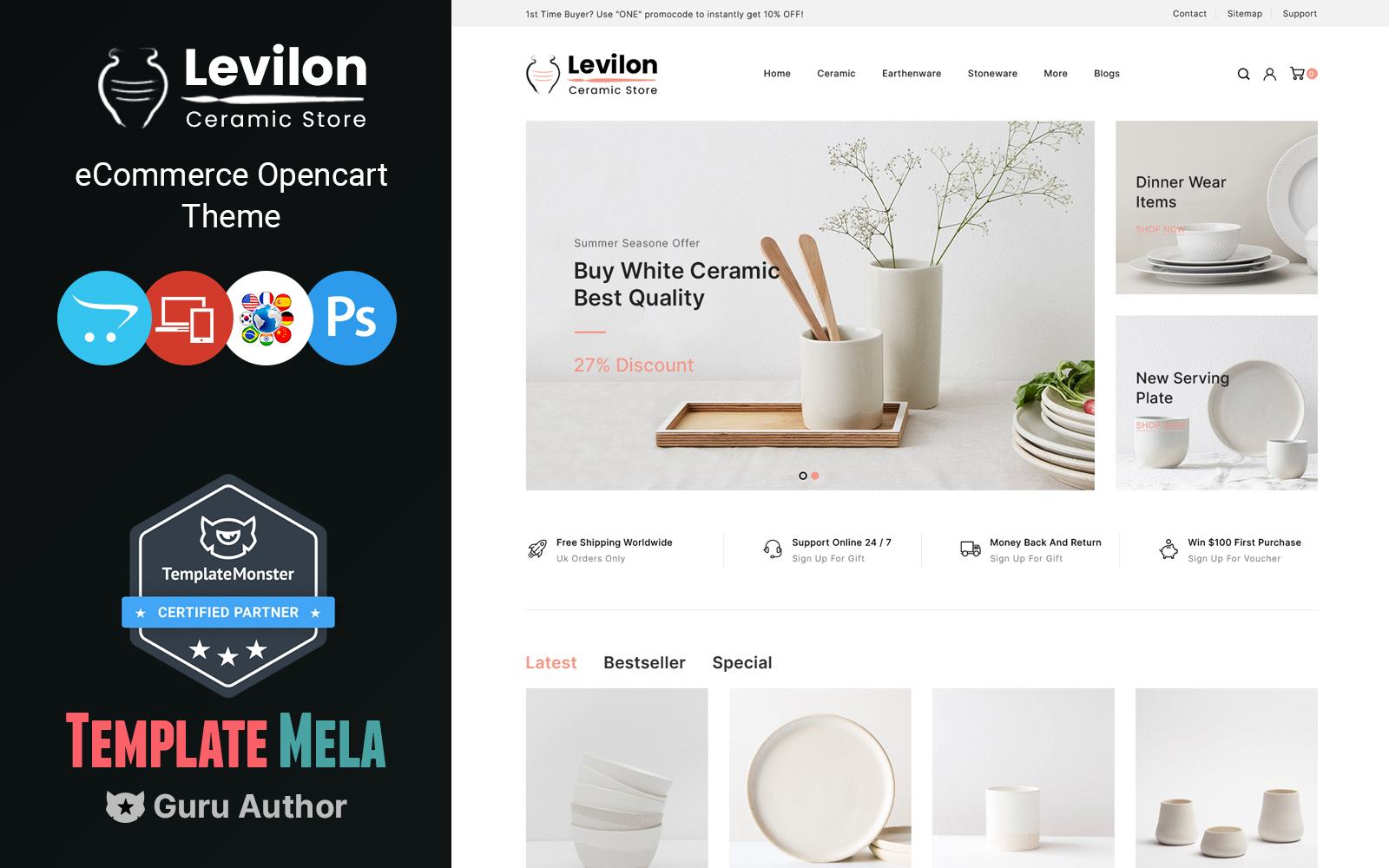 Levilon - Ceramic and Craft OpenCart Theme