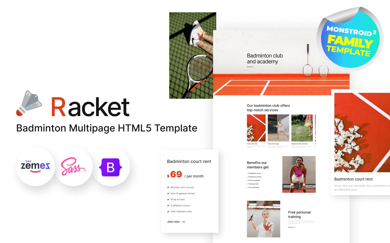 Racket - Sport Club, Badminton HTML5 Website Template