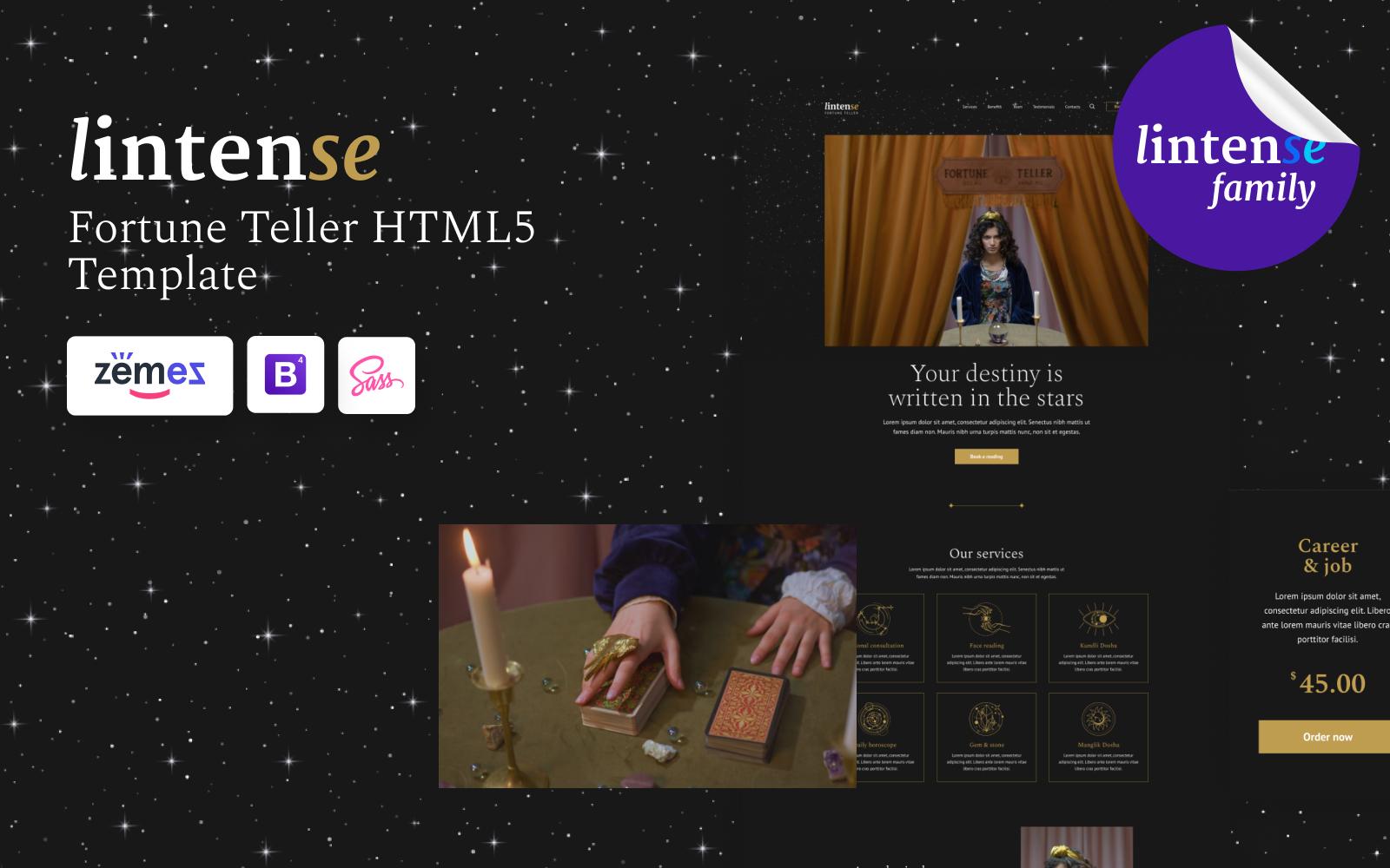Lintense - Fortune-Teller Landing Page Template
