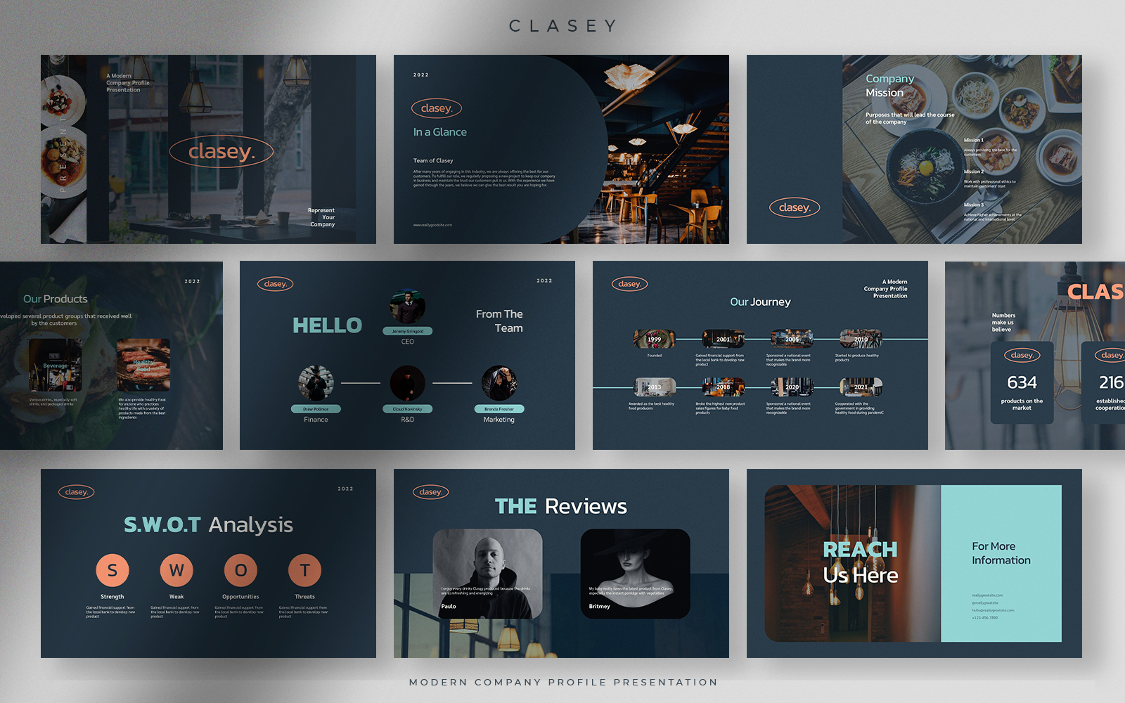 Clasey - Denim Blue Modern Company Profile Presentation