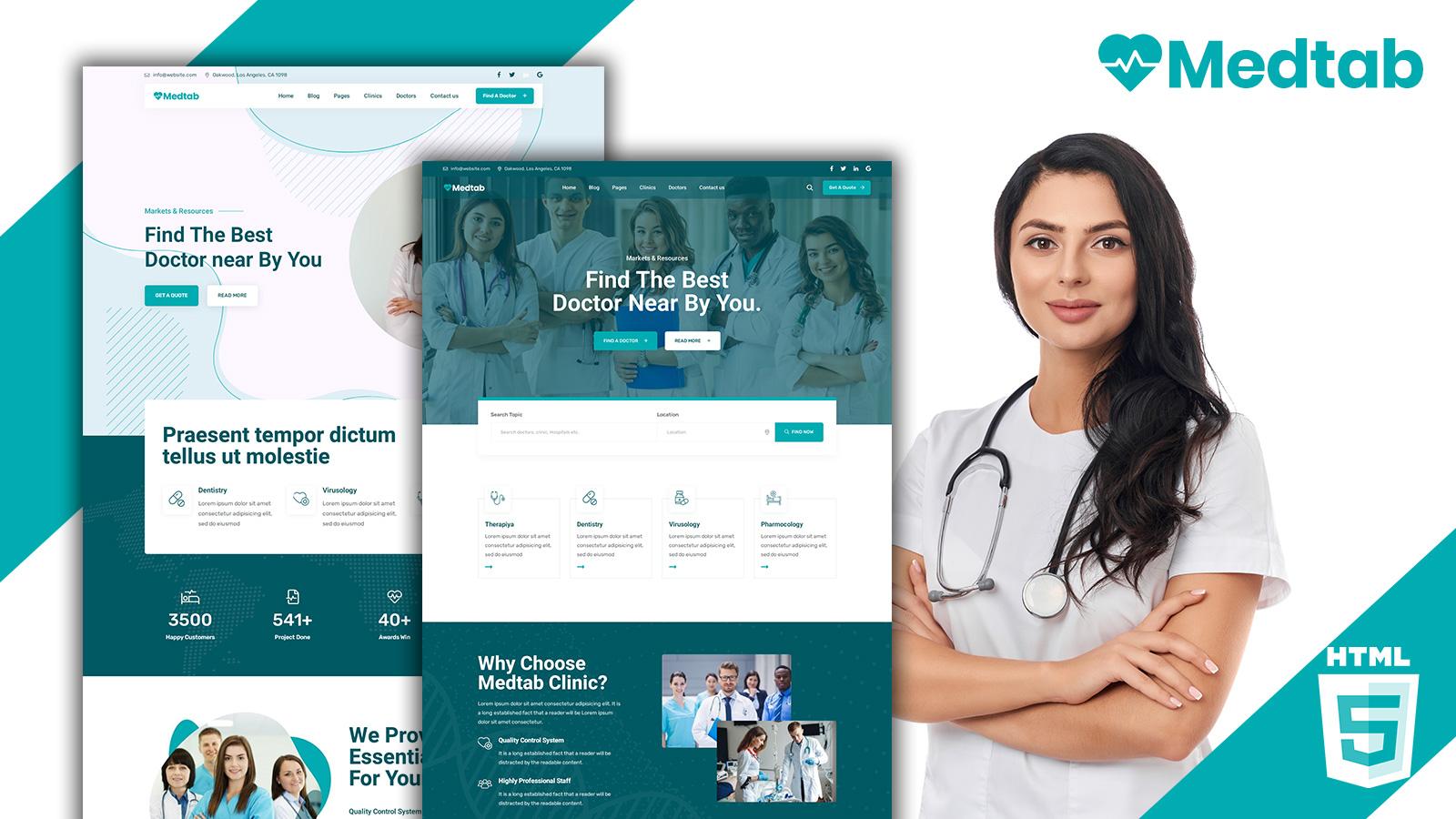 Medtab - Doctor Clinic HTML5 Website Template