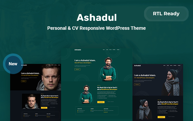 Ashadul - Personal & CV Responsive WordPress Theme