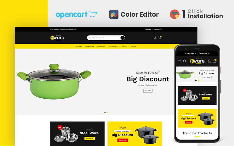 Kitchenware Accessories Store OpenCart Template
