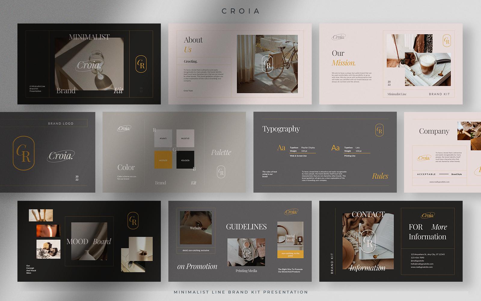 Croía - Gray Sand Minimalist Line Brand Kit Presentation