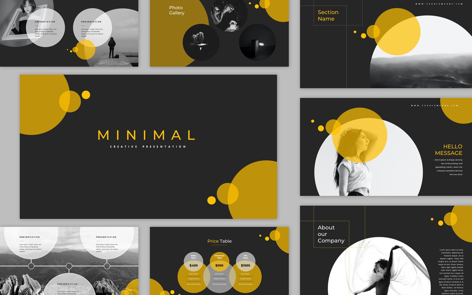 Black and Yellow Minimal Creative Presentation PowerPoint Template for Business