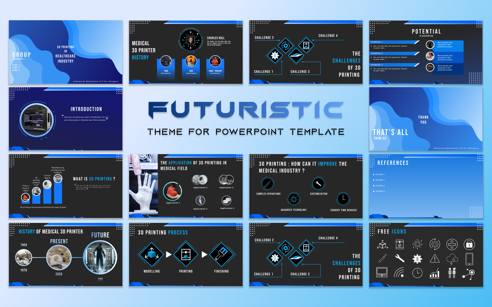 Futuristic Powerpoint Template | 3D Printing in Healthcare Industry