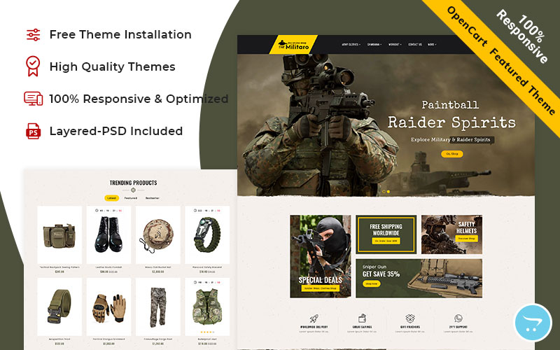 Military - OpenCart Responsive Theme for weapons store