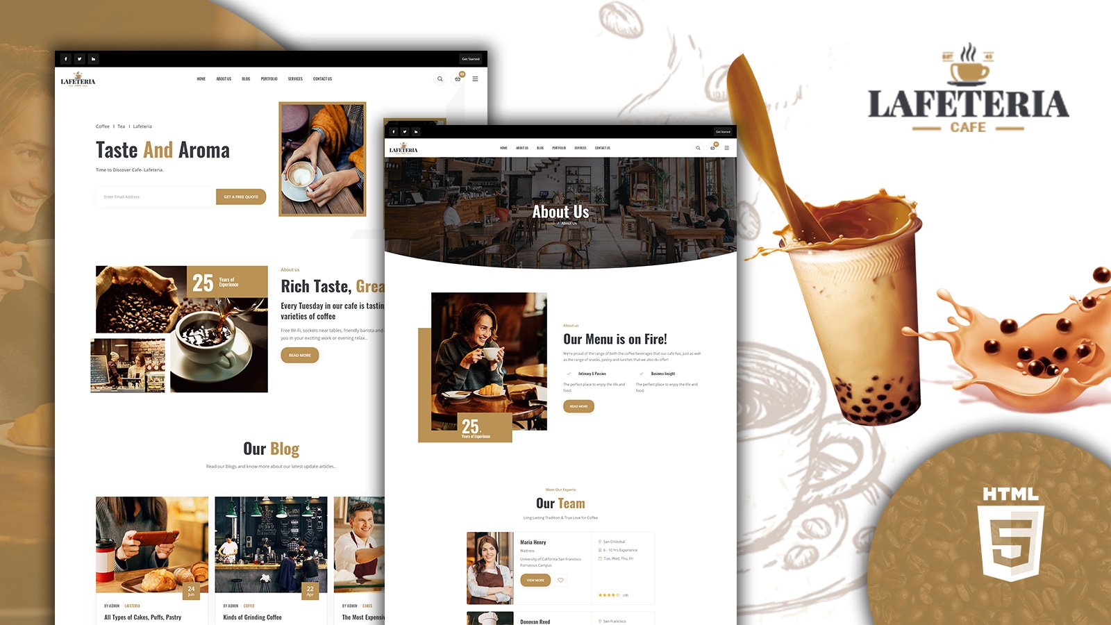 Lafeteria Cafe and Bar HTML5W Website Template