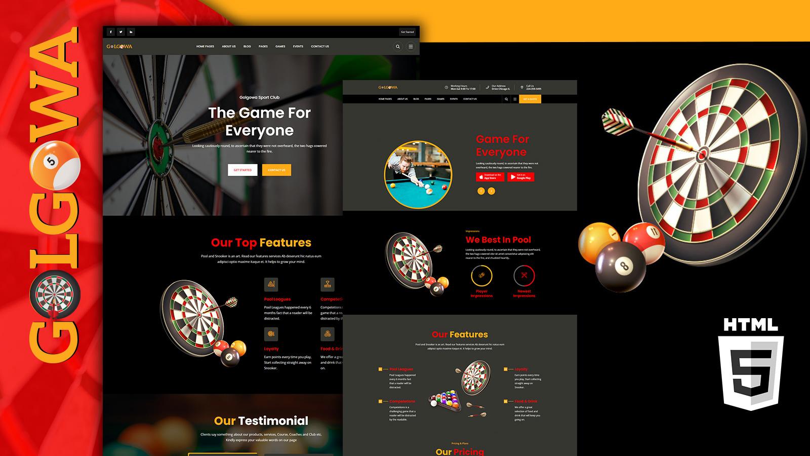 Golgowa Dart & Pool HTML5 Website Template
