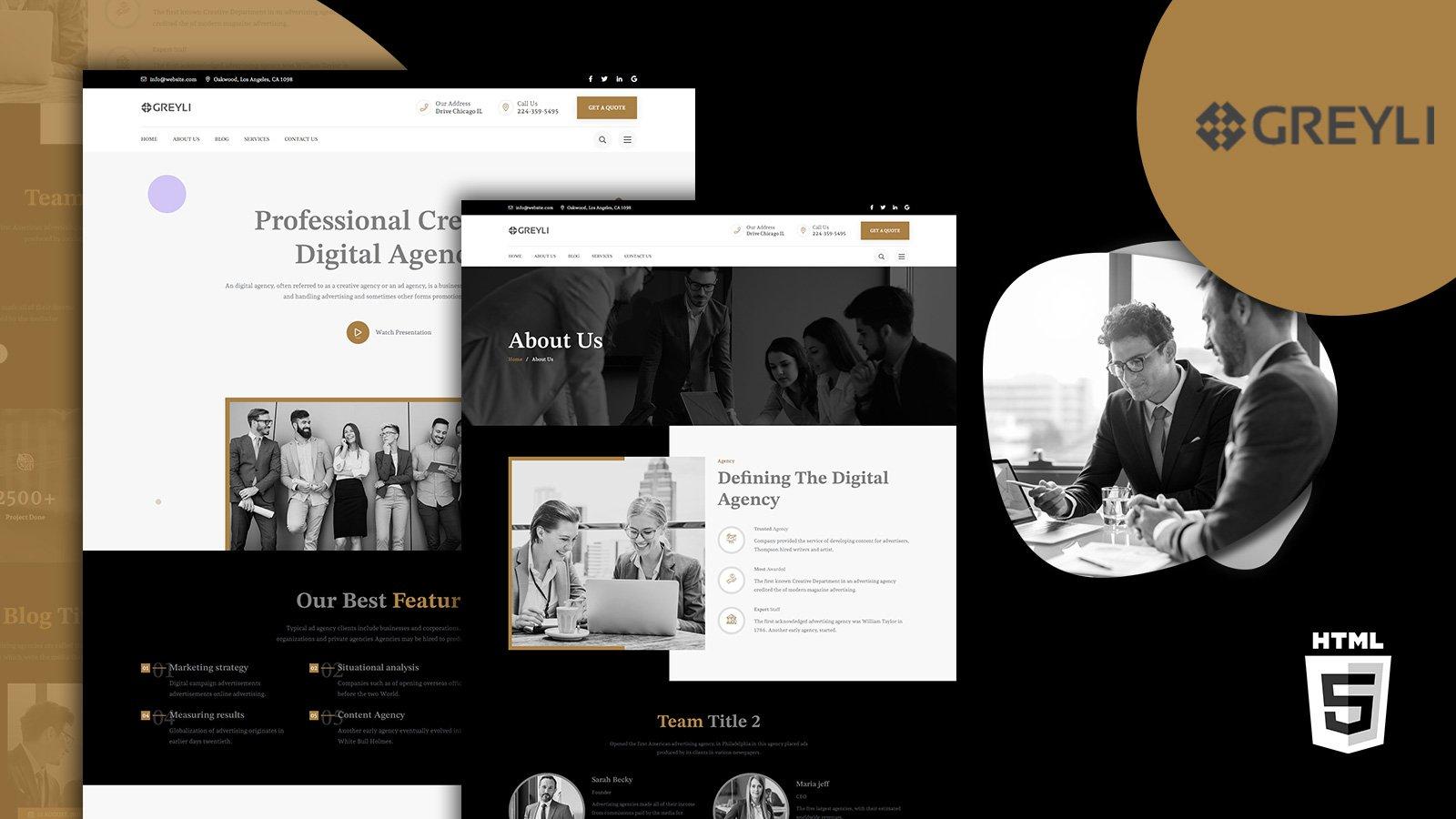 Greyli Modern Agency HTML5 Website Template
