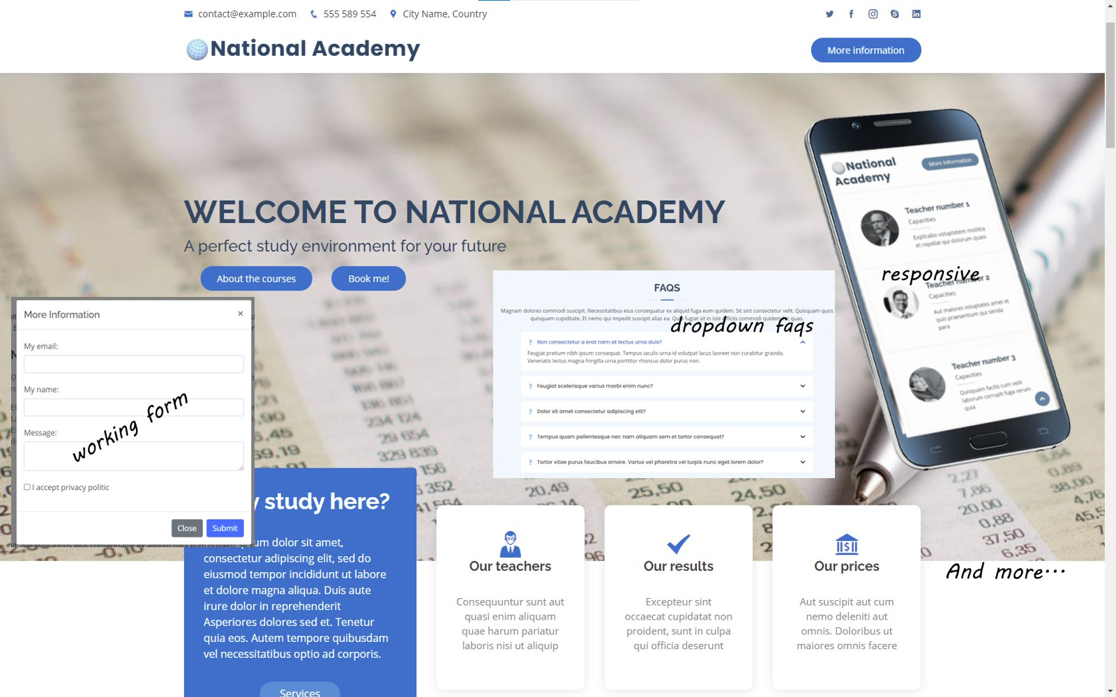 National Academy - A Landing Page Template Bootstrap Based For Training  Learning Bussines