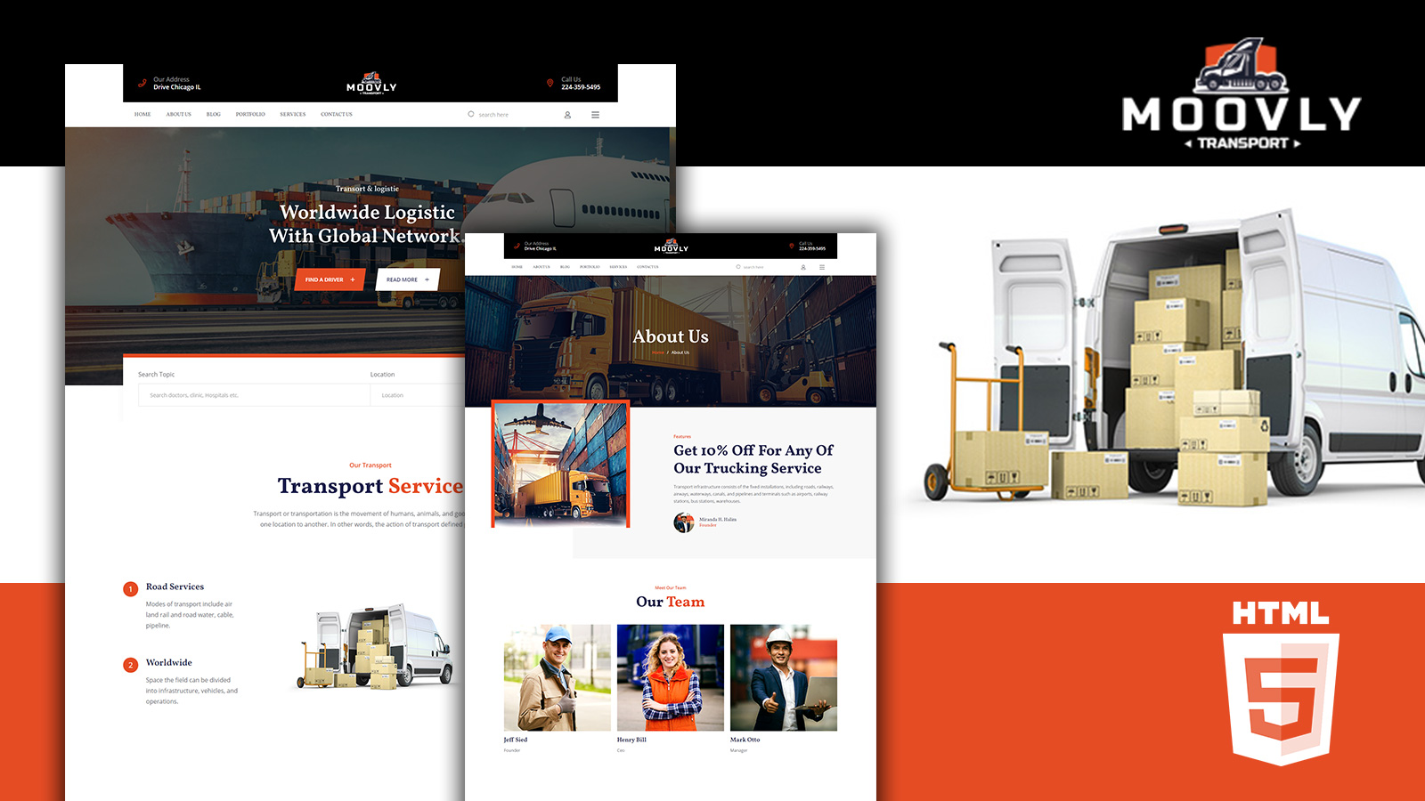 Moovly Moving and Logistics HTML5 Website Template