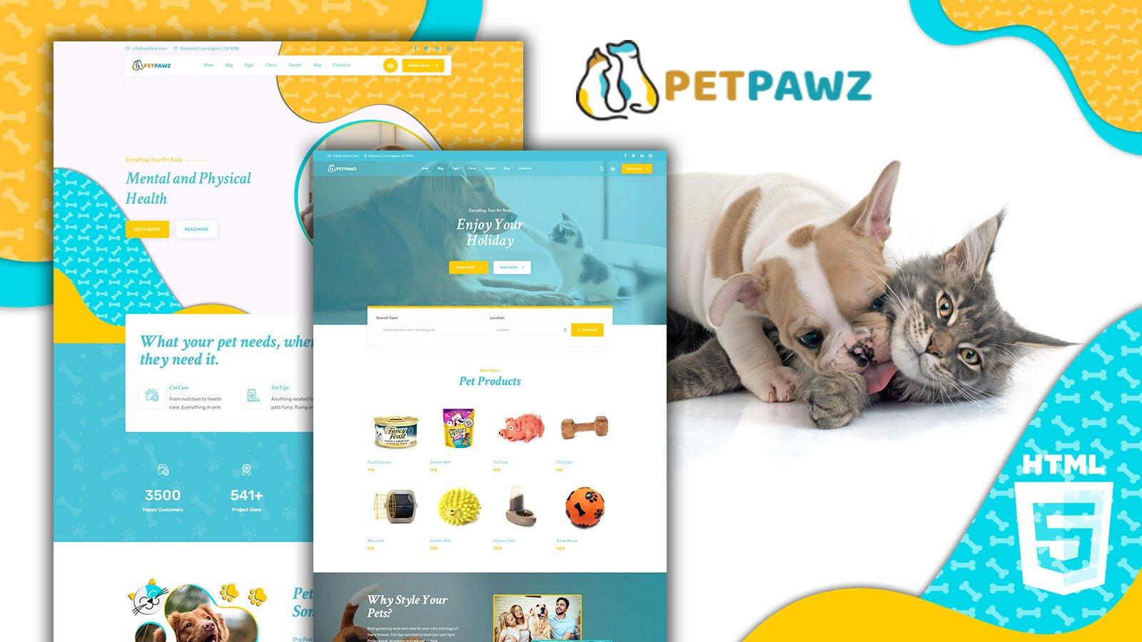 Petpawz Pet Shop HTML5 Website Template