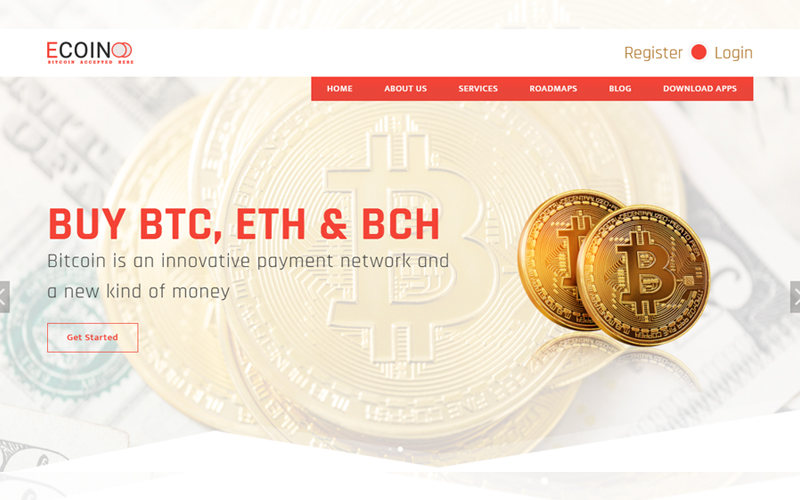 Ecoin - Bitcoin & Cryptocurrency Landing Page Template