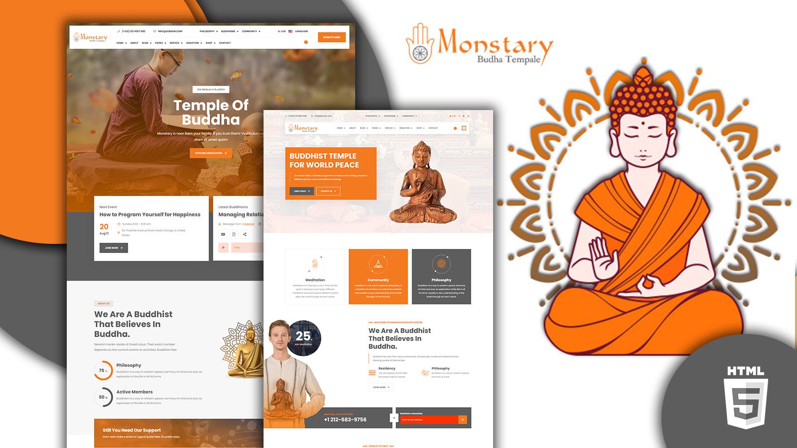 Monstary Buddhist Temple HTML5 Website Template
