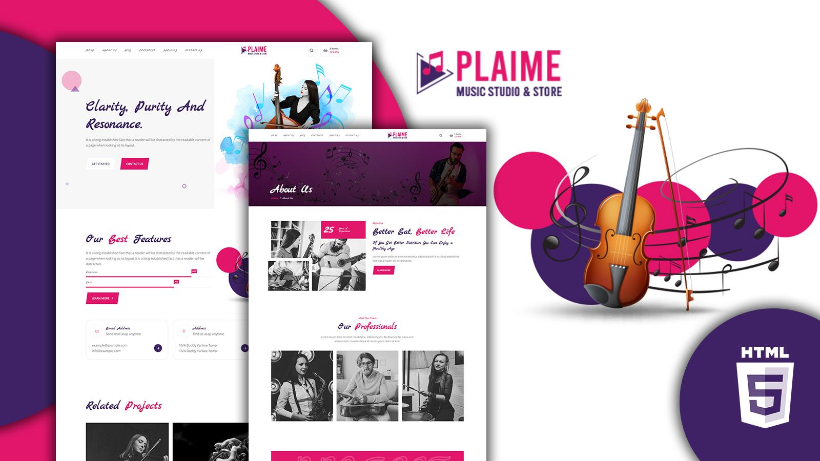 Plaime Music Band & Musician HTML5 Website Template