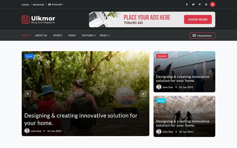 Ulkmor - Blog, Article and Magazine HTML5 Template