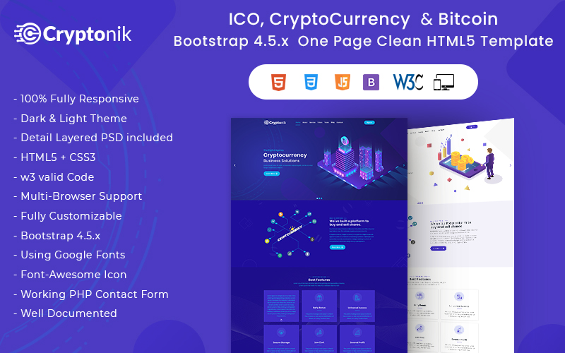 Cryptonik - ICO, Bitcoin and Cryptocurrency HTML Landing Page