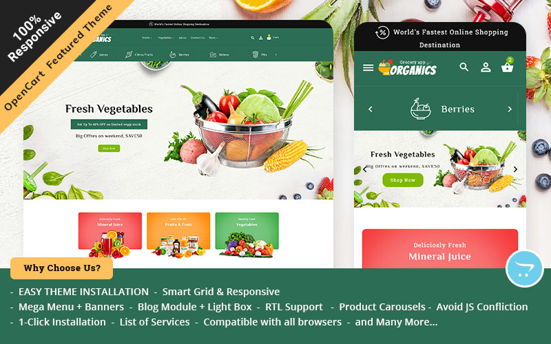 Organic  Opencart Responsive Theme for Online Grocery Store