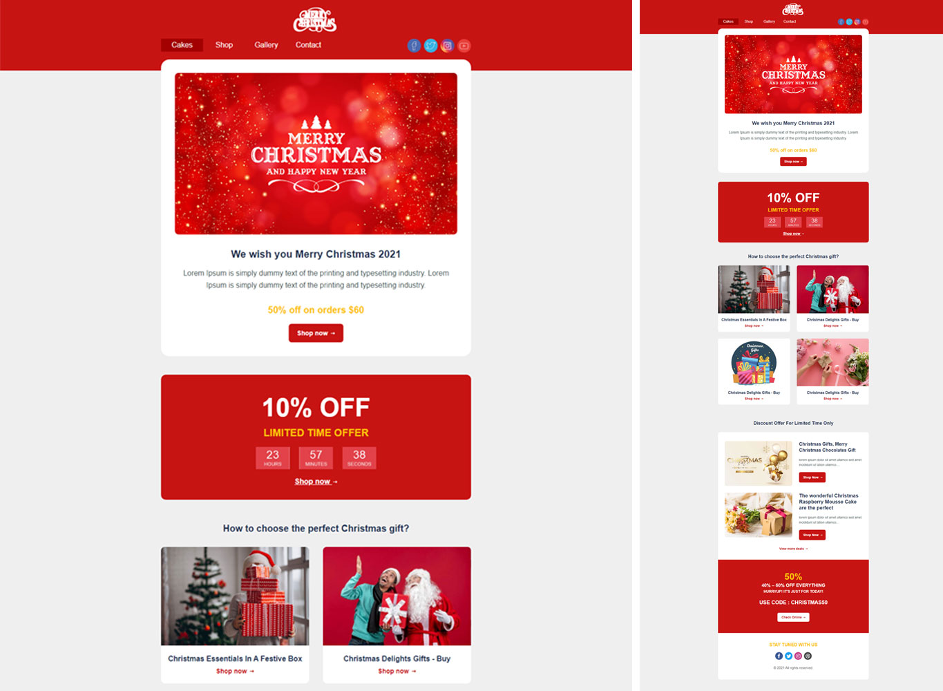 Christmas Email Templates   Christmas Responsive HTML Email Template  Christmas Newsletter