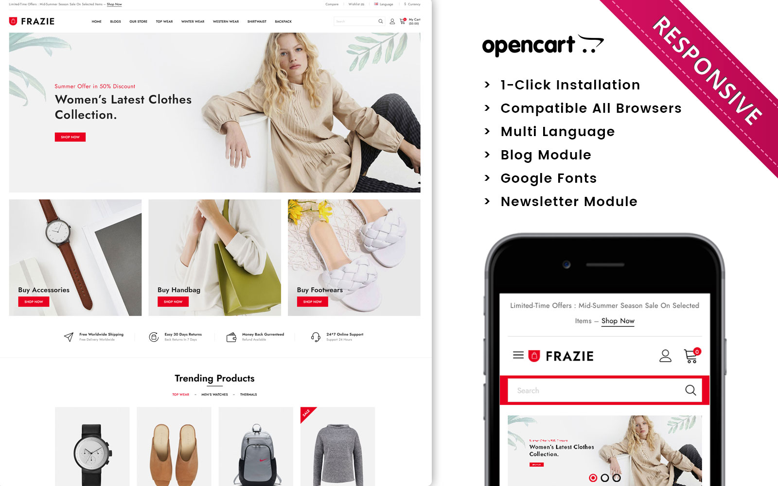 Frazie - The Fashion Store Responsive Opencart Theme