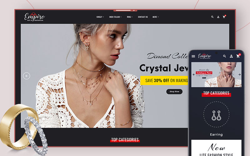 Empire art & imitation - OpenCart Theme for Online Jewelry Store