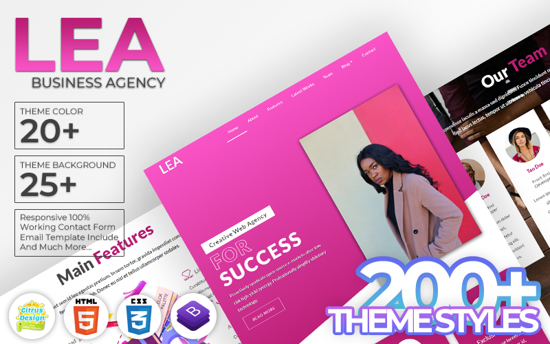 Lea - Business Agency HTML5 Landing Page Template