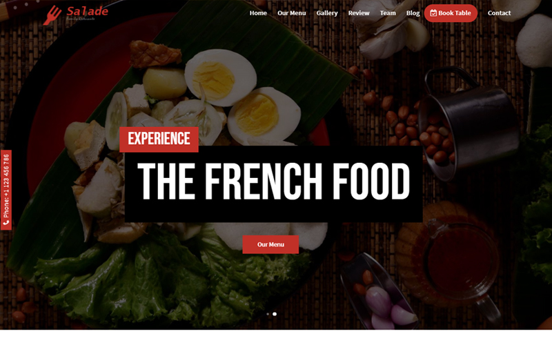 Salade - French Restaurant HTML5 Landing Page Template