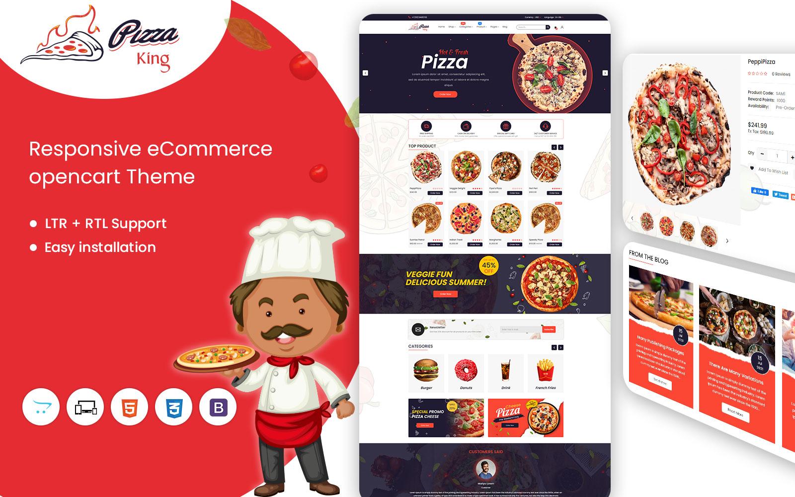 Pizzaking Online Restaurant Responsive OpenCart Template