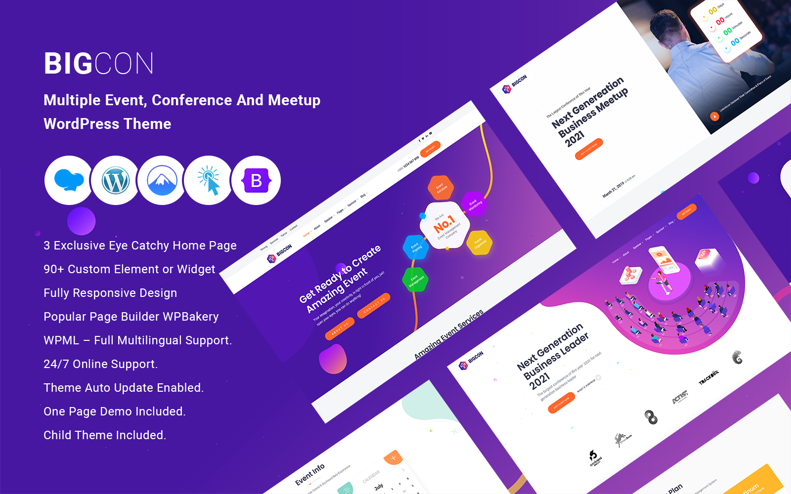 Bigcon - Multiple Event,Conference And Meetup WordPress Theme