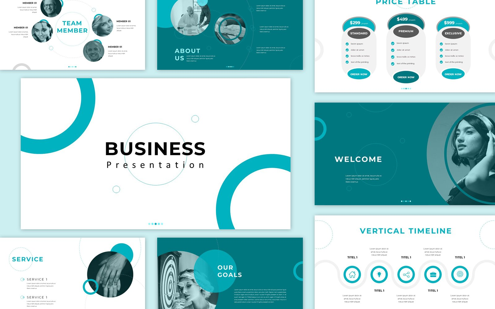 Business Presentation PowerPoint Template Turquoise color