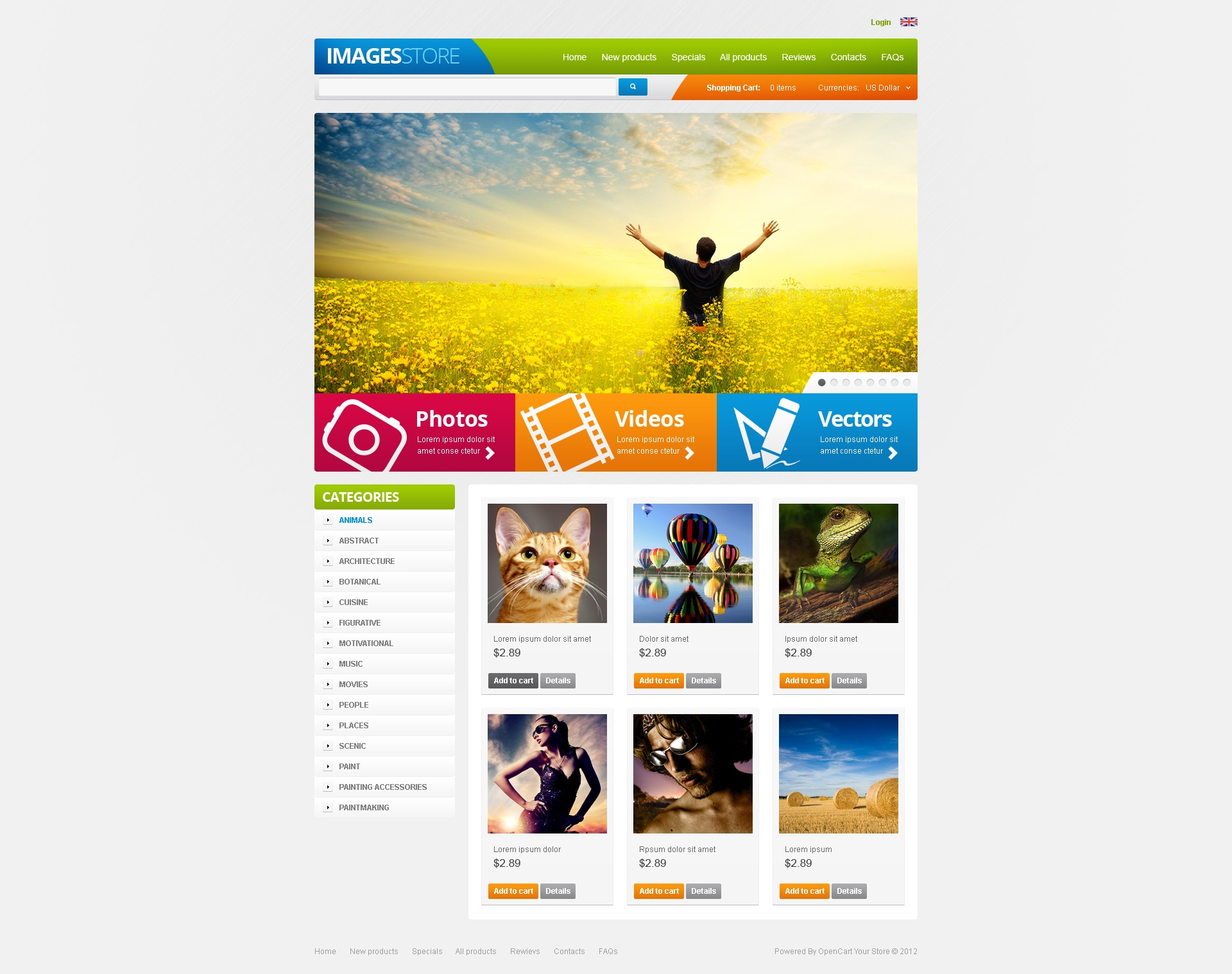 Images for Various Projects ZenCart Template