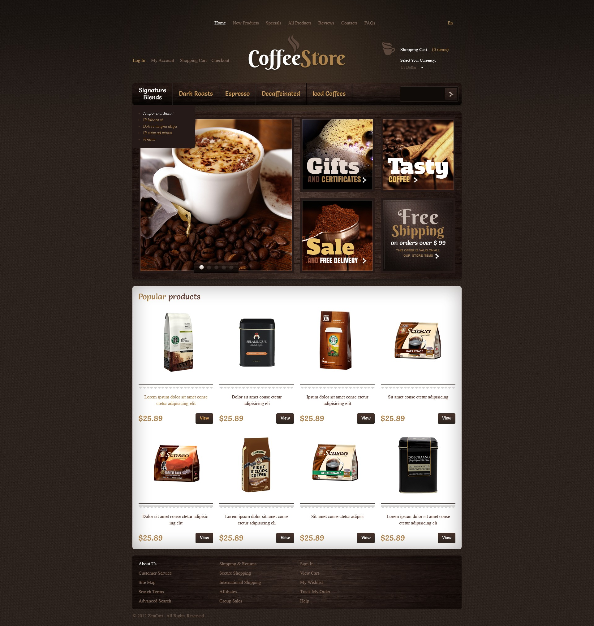 Quality Coffee ZenCart Template