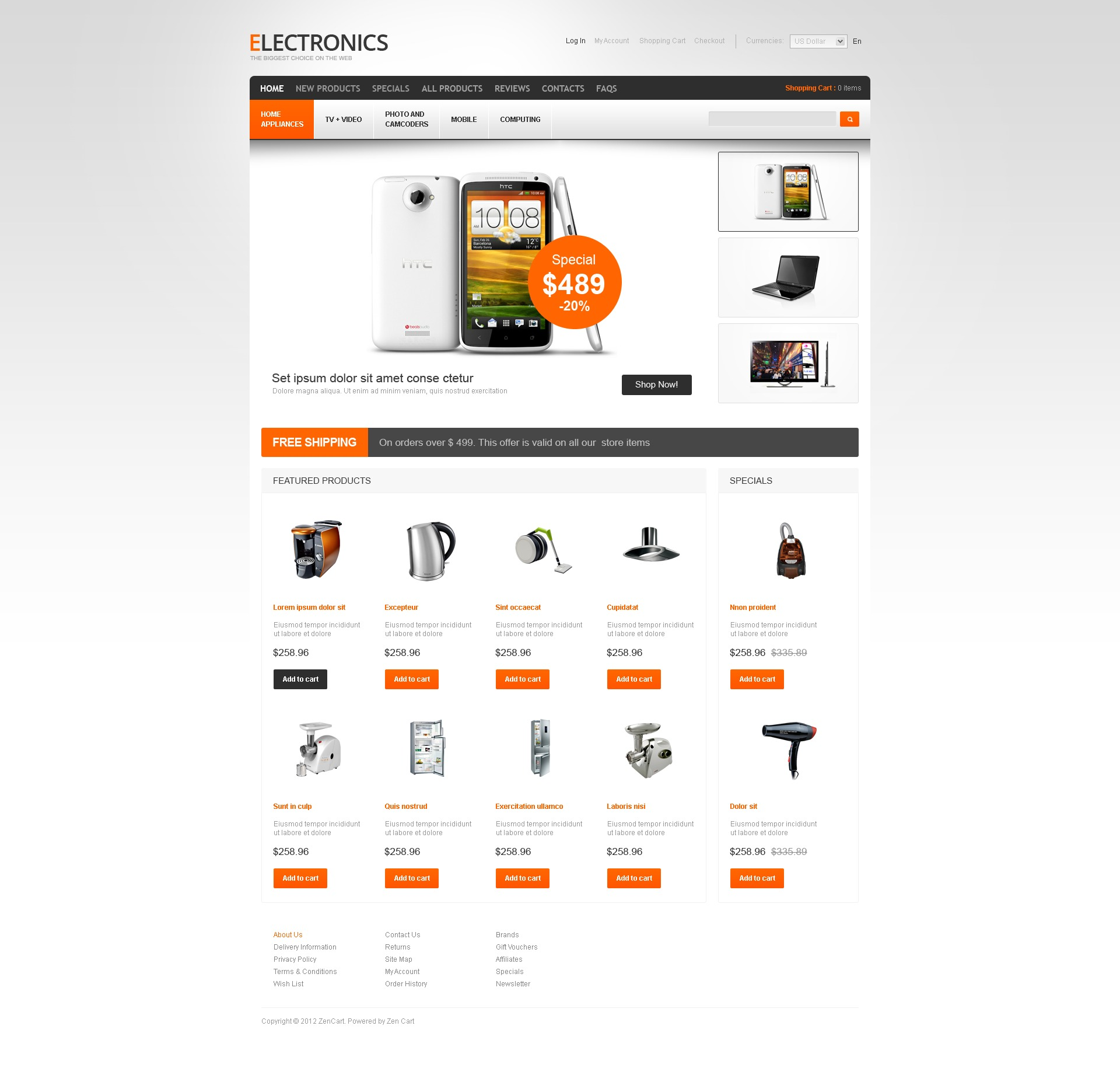Electronic Devices ZenCart Template