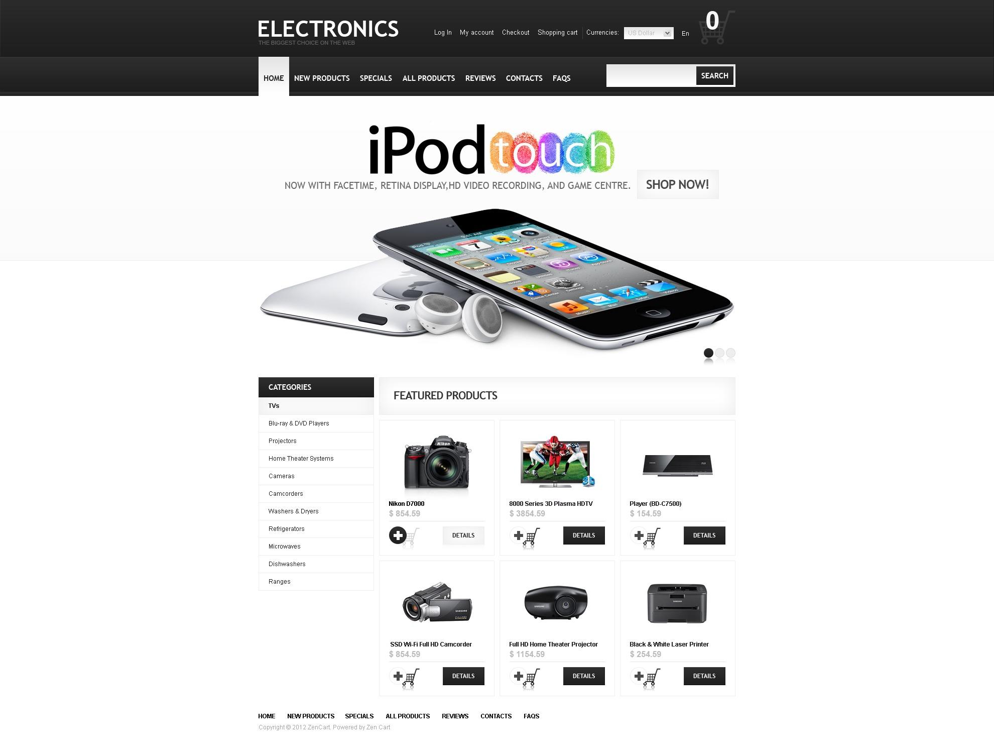 Electronics Online ZenCart Template