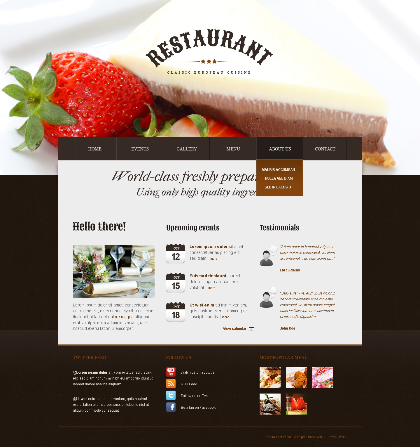 Cafe and Restaurant Drupal Template