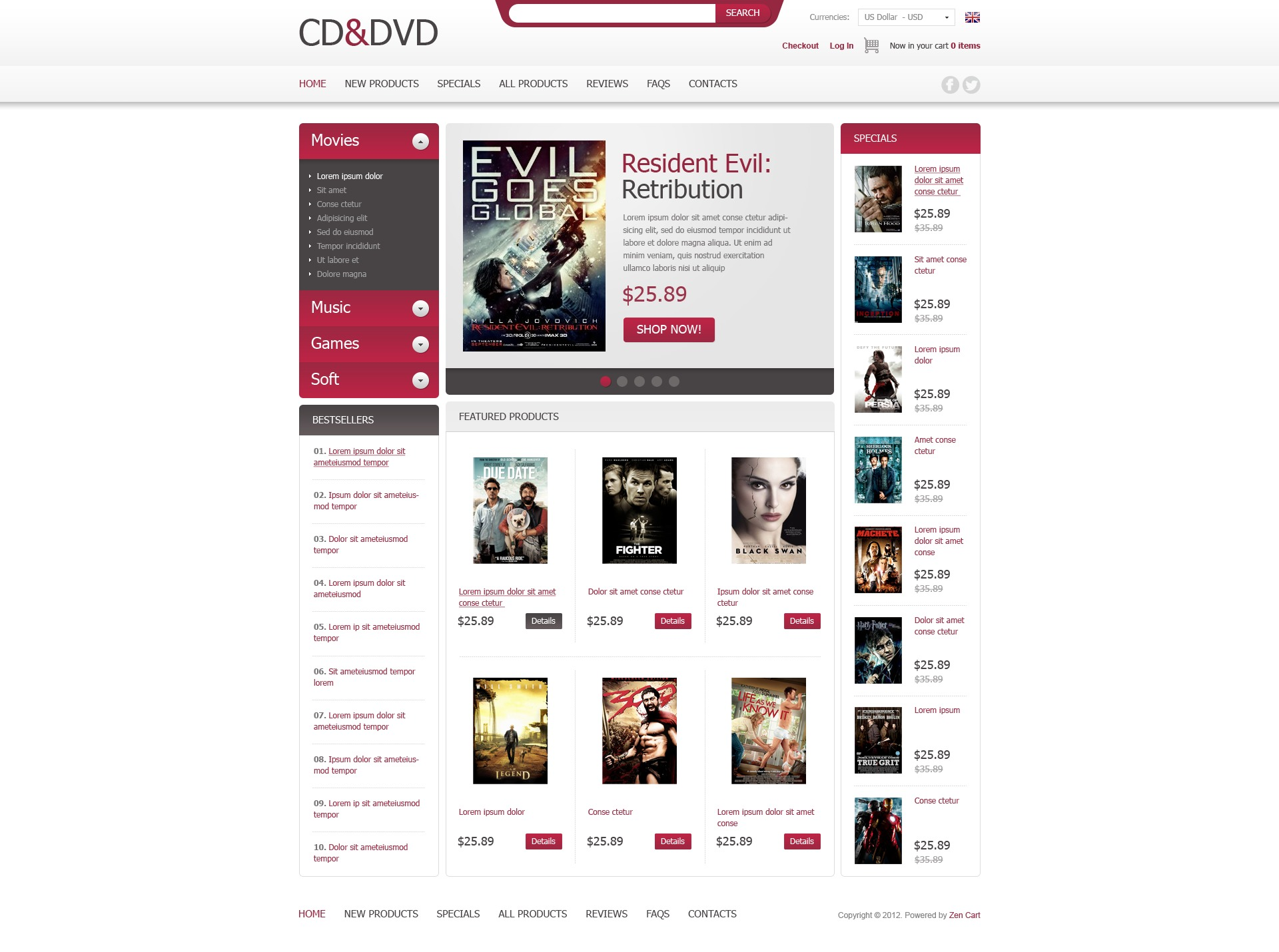 CD & DVD ZenCart Template