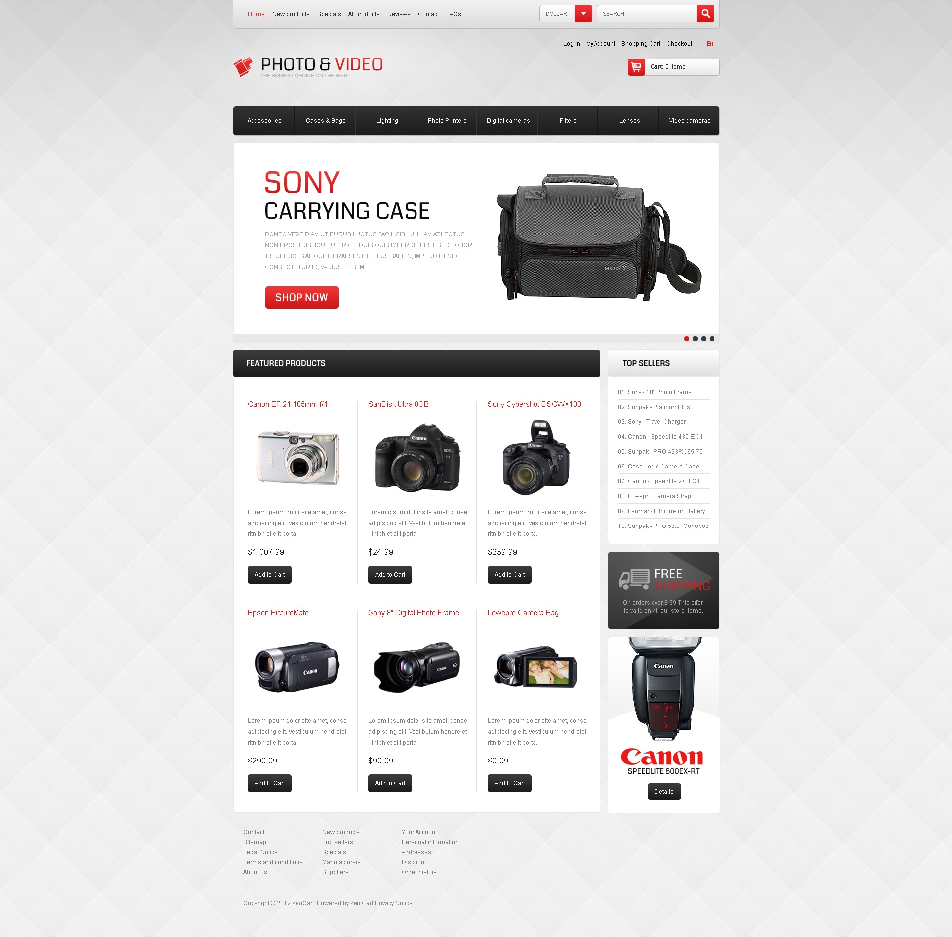 Photo & Video Appliances ZenCart Template