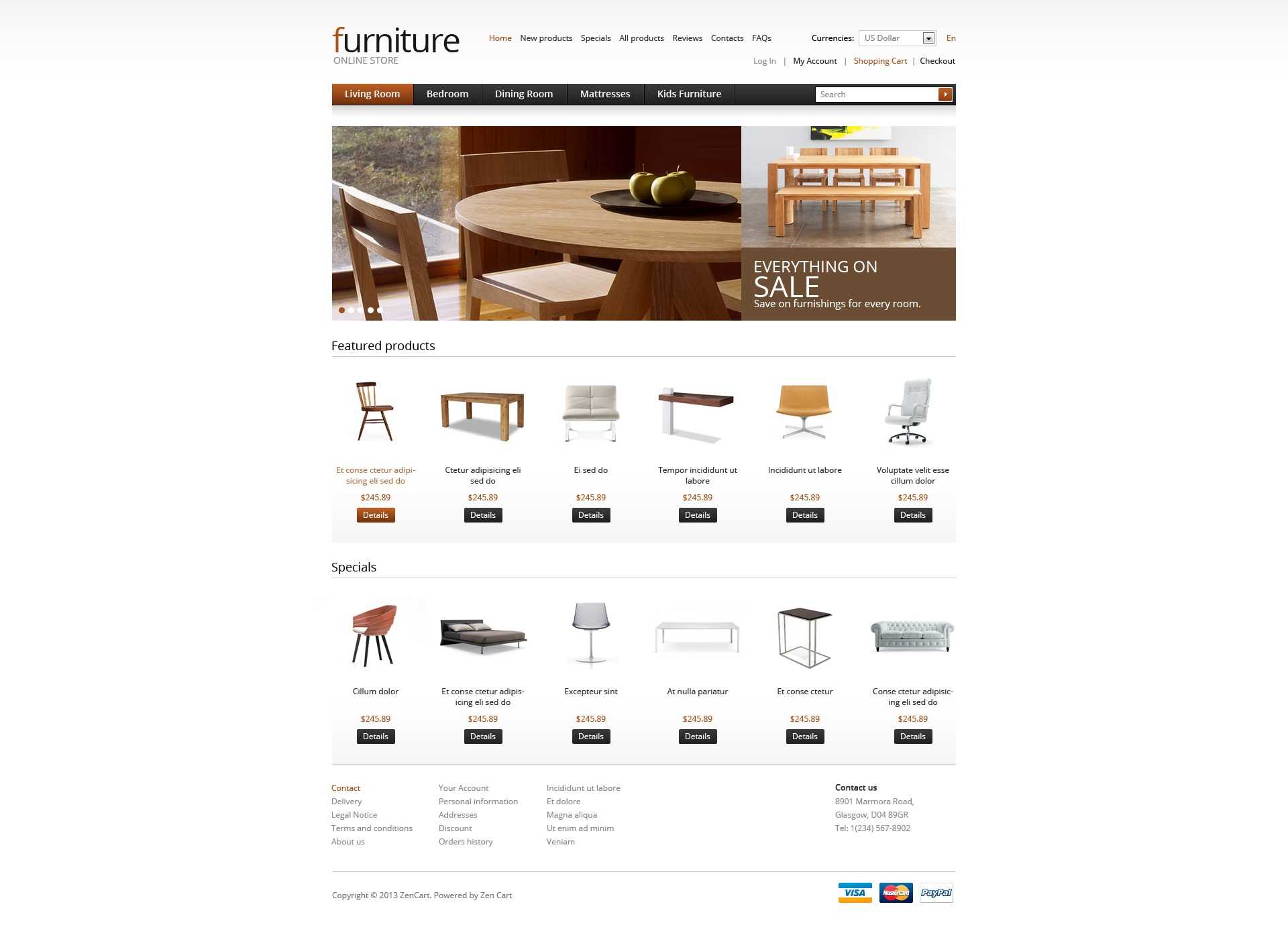 Wooden Furniture ZenCart Template