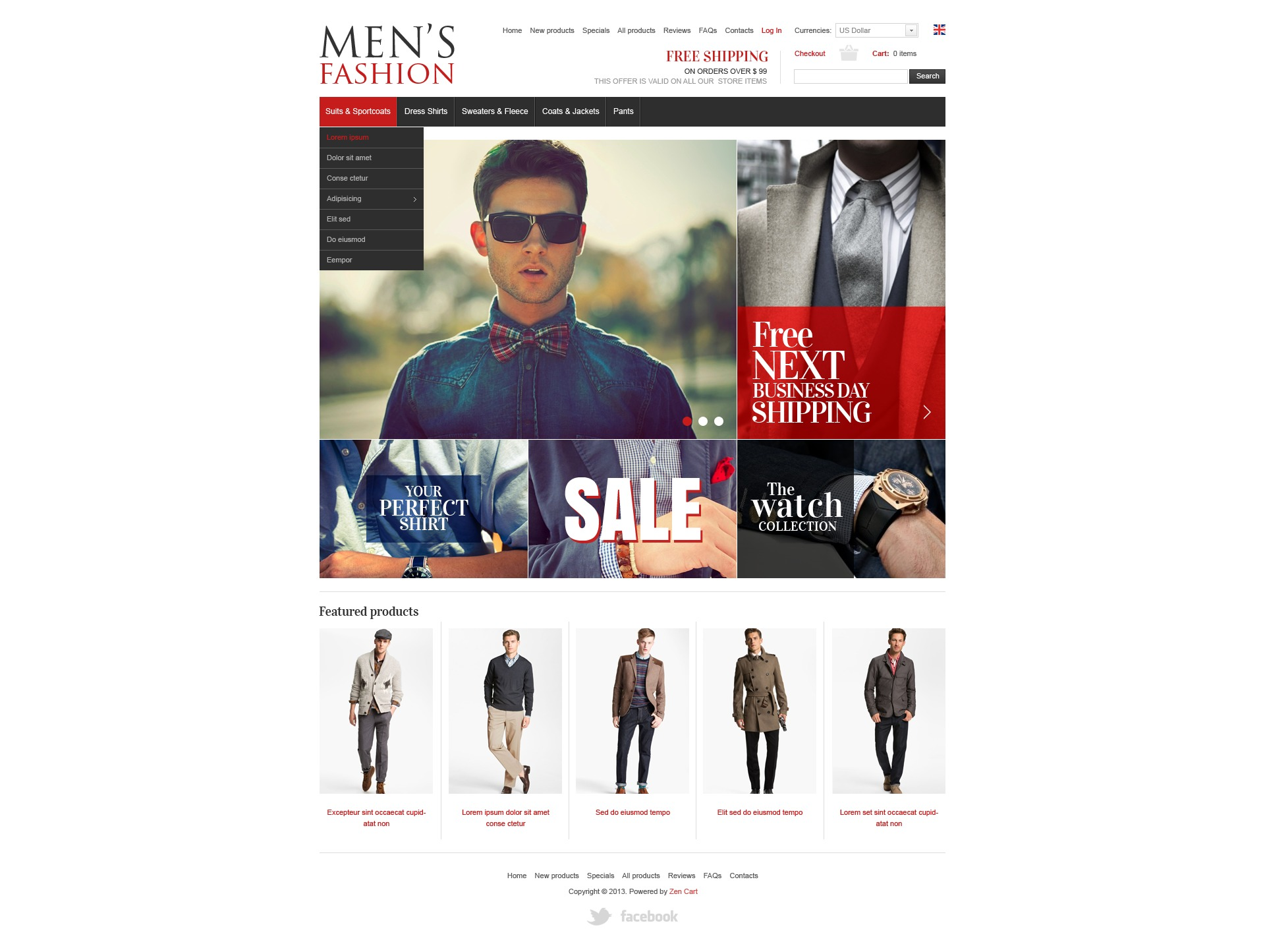 Men's Clothes ZenCart Template