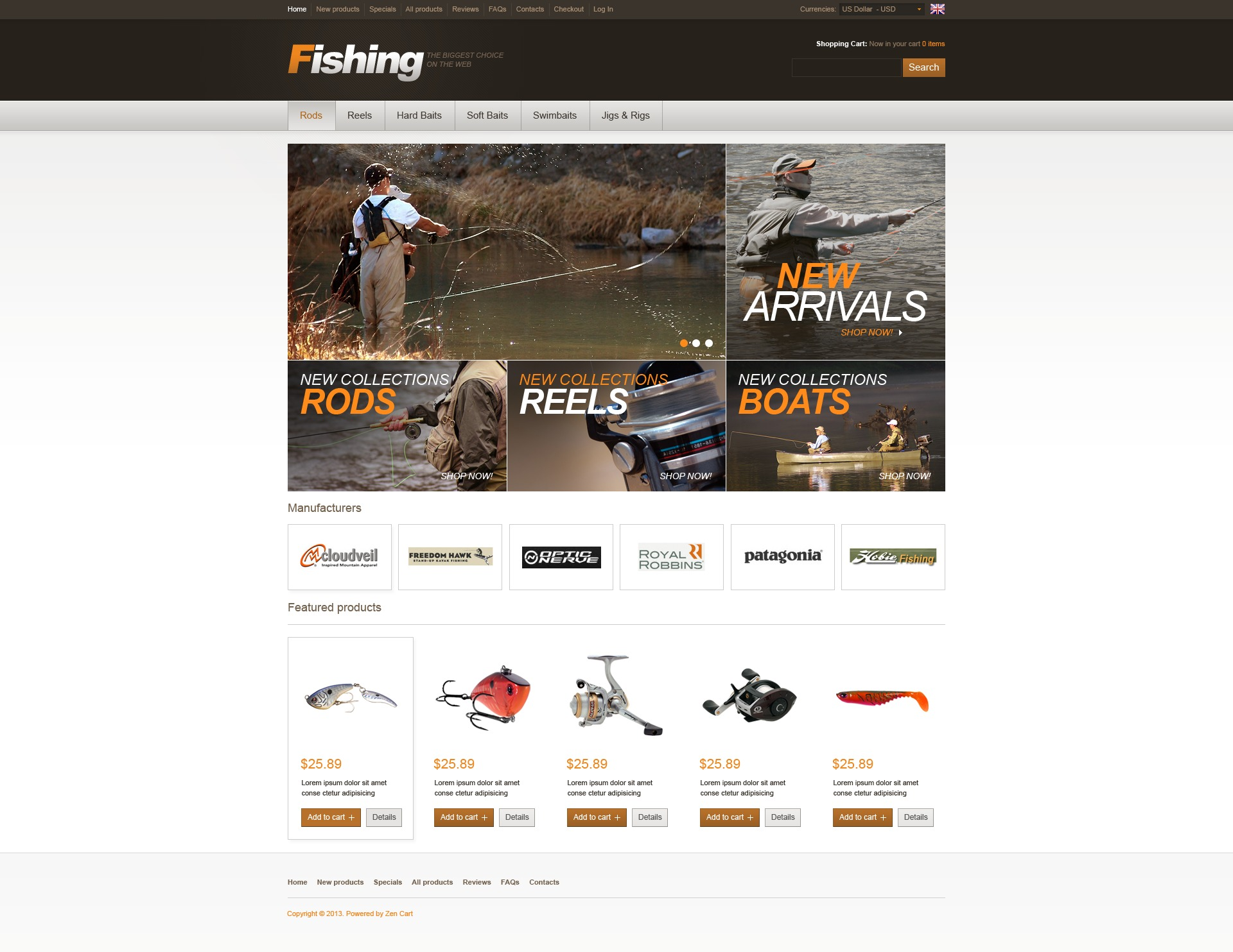 Fishing Store ZenCart Template