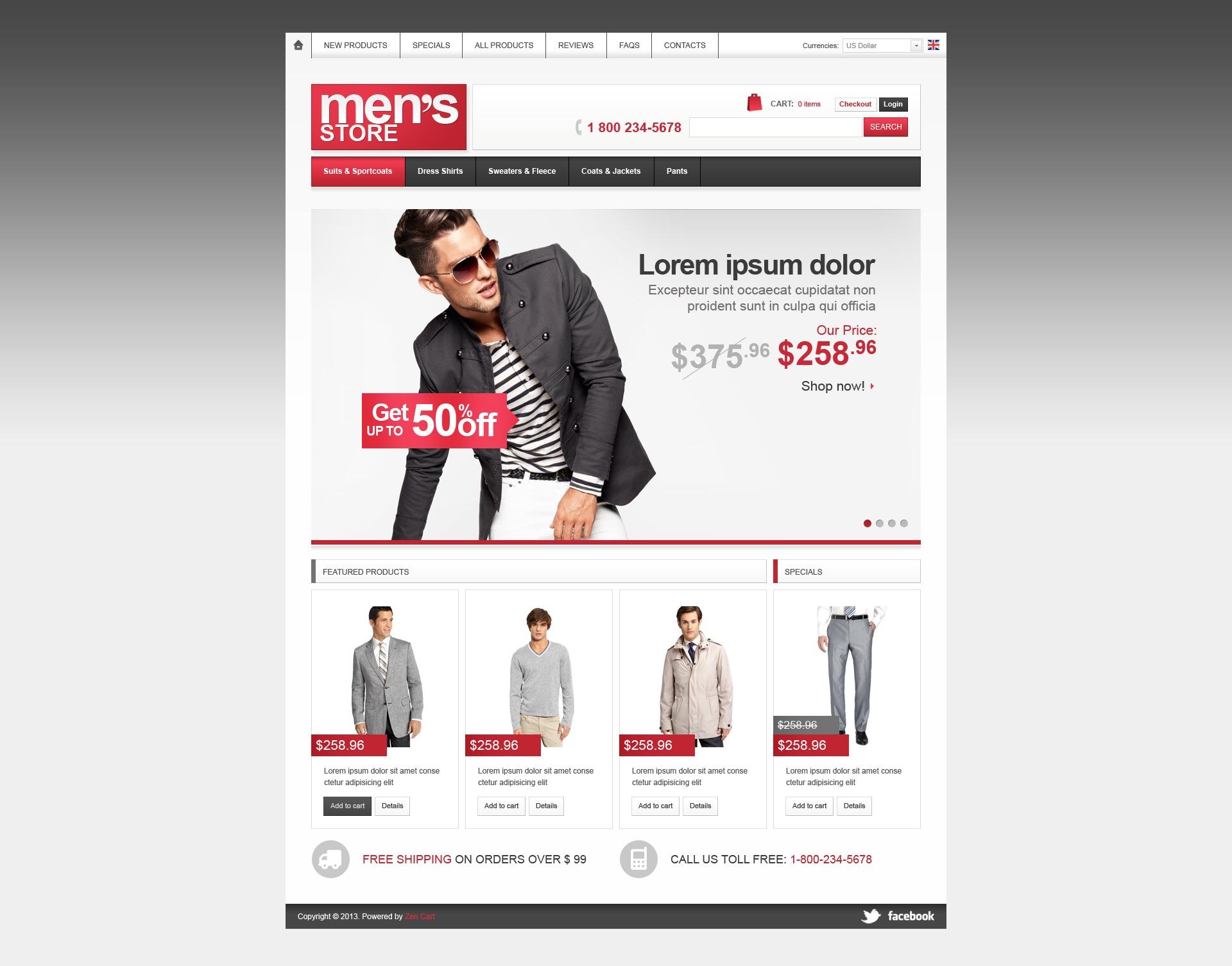 Men's Store ZenCart Template