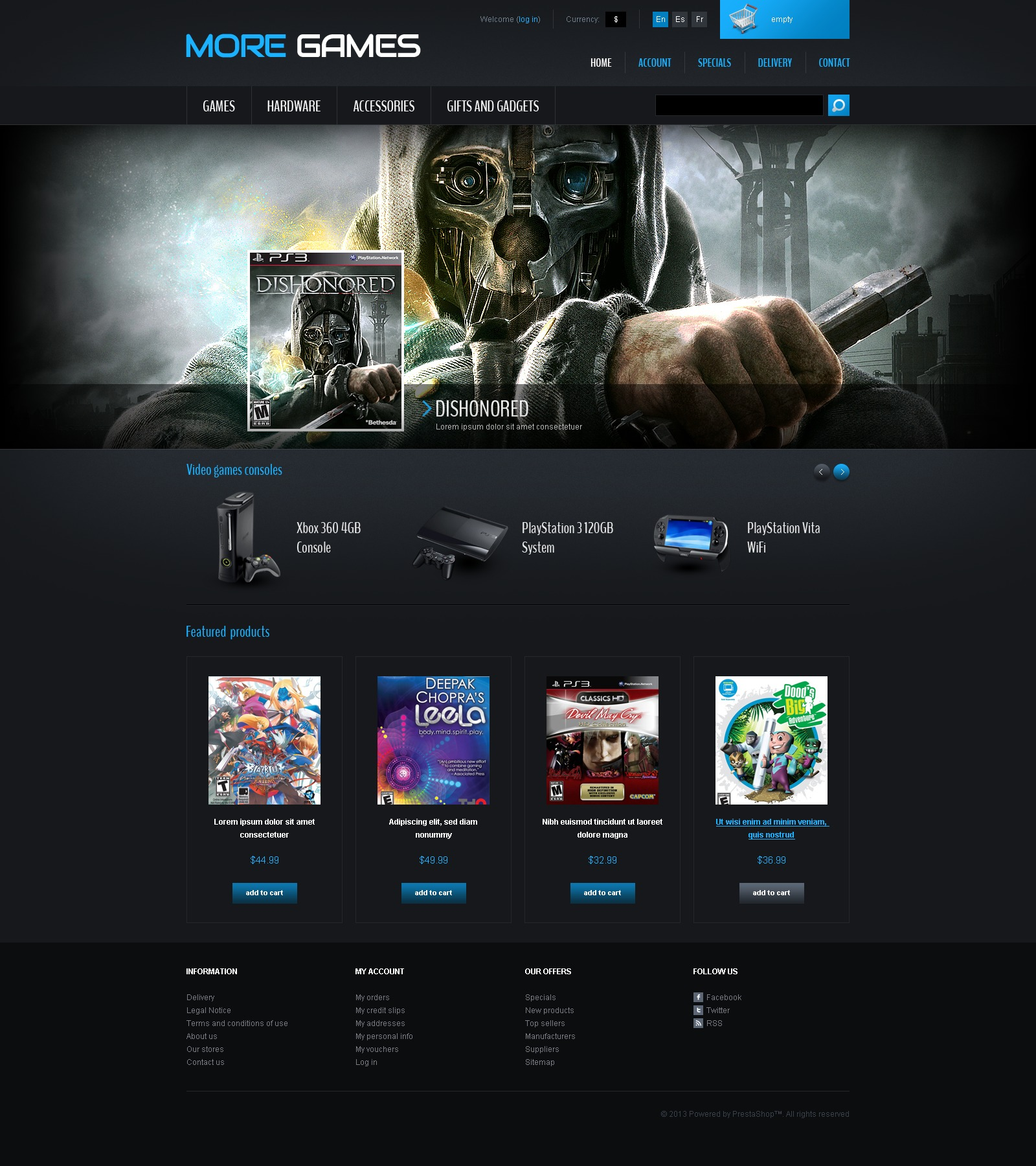 Games & Consoles PrestaShop Theme