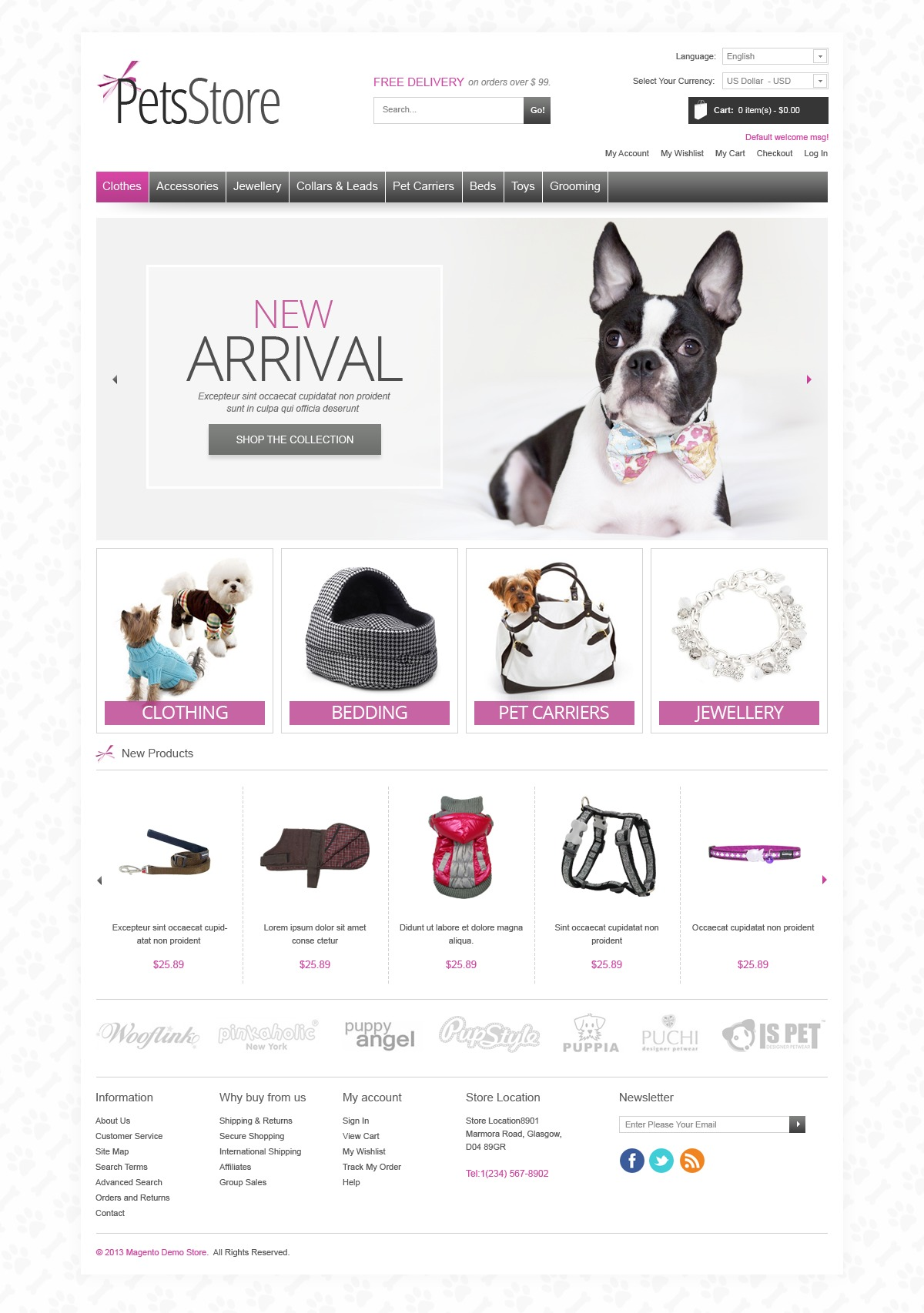 Pets store magento theme properhost for Magento homepage template