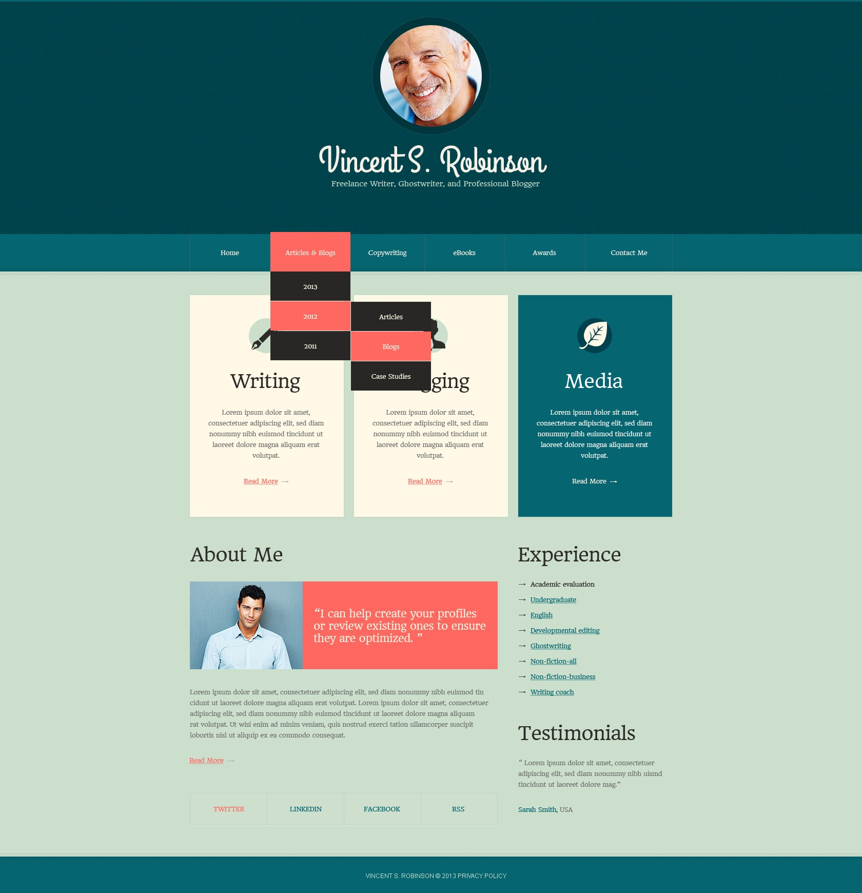 Cyan Personal Page Drupal Template