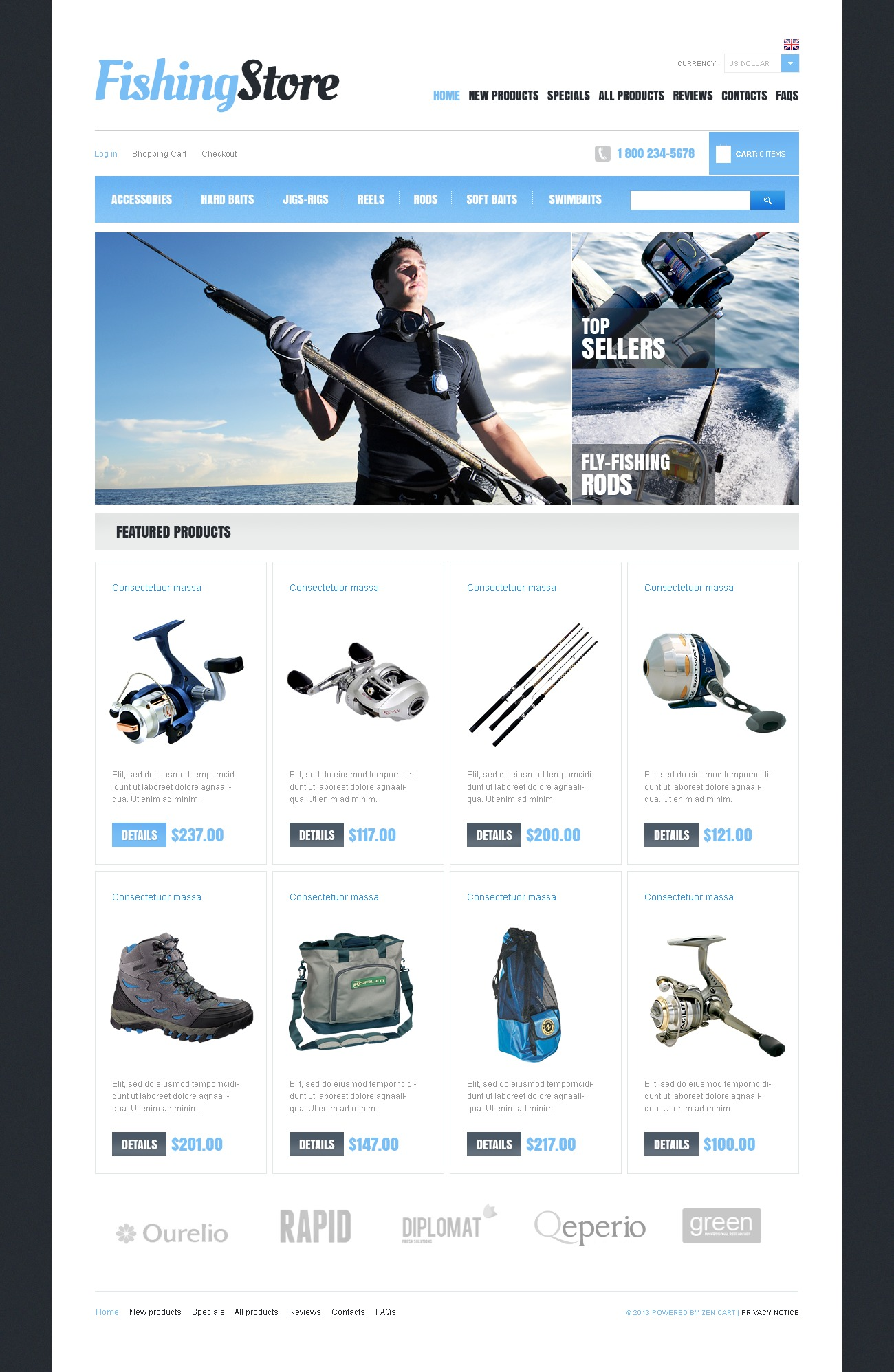 Fishing Store ZenCart Template