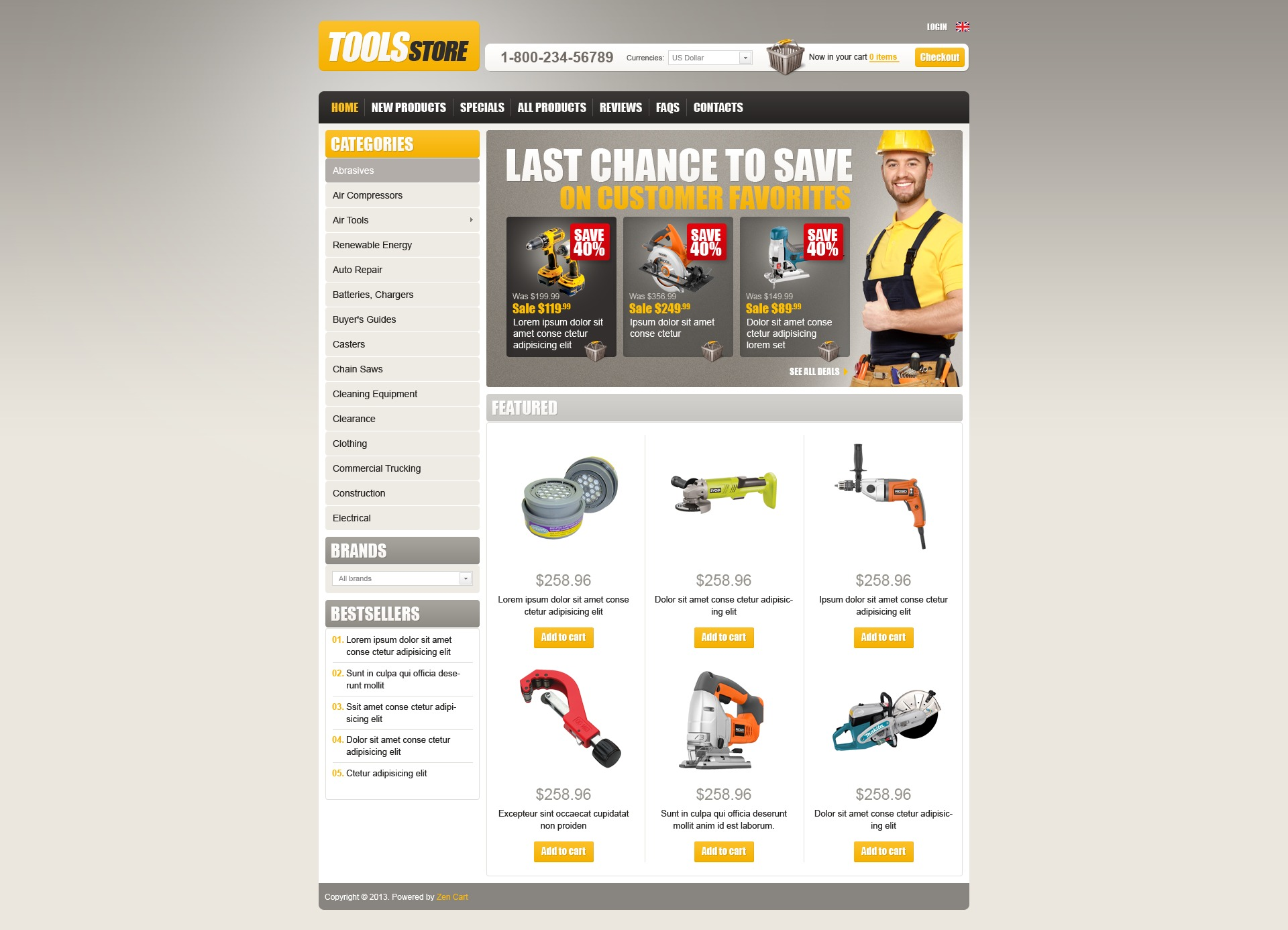 Tools Store ZenCart Template