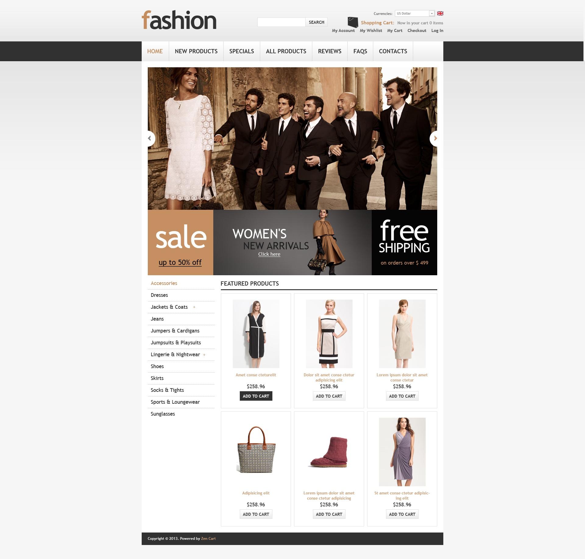 Classy Fashion Store ZenCart Template