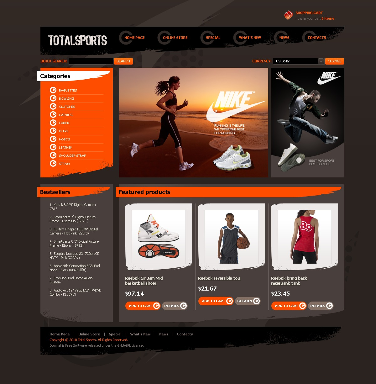 Total Sports VirtueMart Template